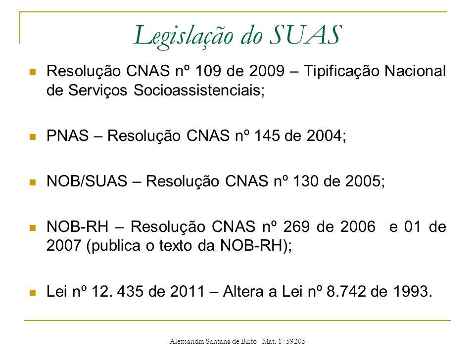 Legislação do SUAS Resolução CNAS nº 109 de 2009 – Tipificação Nacional de Serviços Socioassistenciais; PNAS – Resolução CNAS nº 145 de 2004; NOB/SUAS – Resolução CNAS nº 130 de 2005; NOB-RH – Resolução CNAS nº 269 de 2006 e 01 de 2007 (publica o texto da NOB-RH); Lei nº 12.