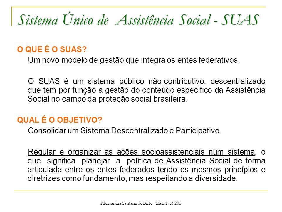 Sistema Único de Assistência Social - SUAS O QUE É O SUAS.