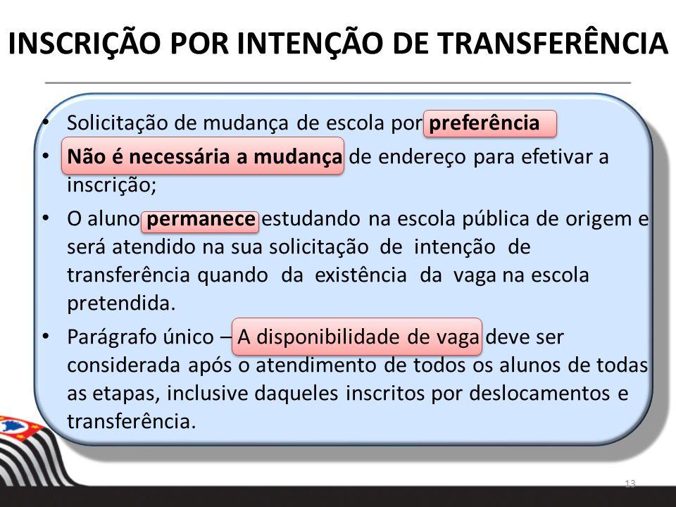 INSCRIÇÃO POR INTENÇÃO DE TRANSFERÊNCIA 13 Solicitação de mudança de escola por preferência Não é necessária a mudança de endereço para efetivar a ins