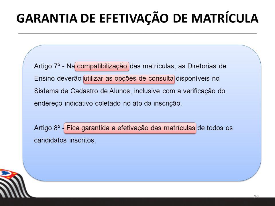 20 GARANTIA DE EFETIVAÇÃO DE MATRÍCULA Artigo 7º - Na compatibilização das matrículas, as Diretorias de Ensino deverão utilizar as opções de consulta