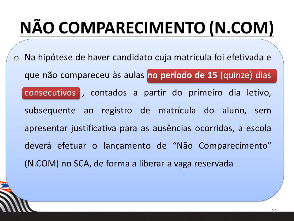 NÃO COMPARECIMENTO (N.COM) o Na hipótese de haver candidato cuja matrícula foi efetivada e que não compareceu às aulas no período de 15 (quinze) dias