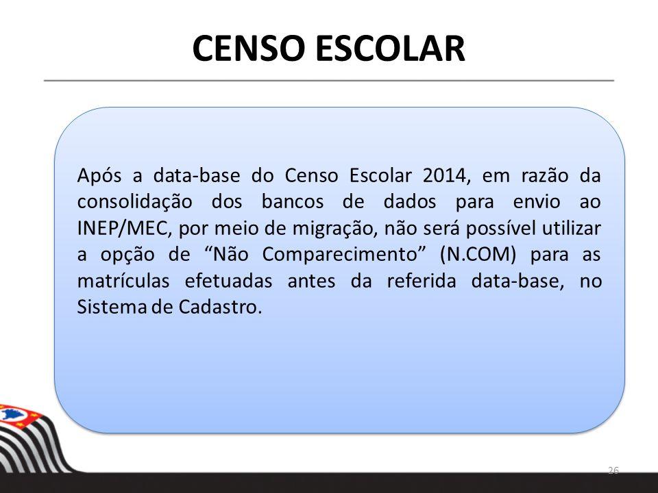 Após a data-base do Censo Escolar 2014, em razão da consolidação dos bancos de dados para envio ao INEP/MEC, por meio de migração, não será possível u