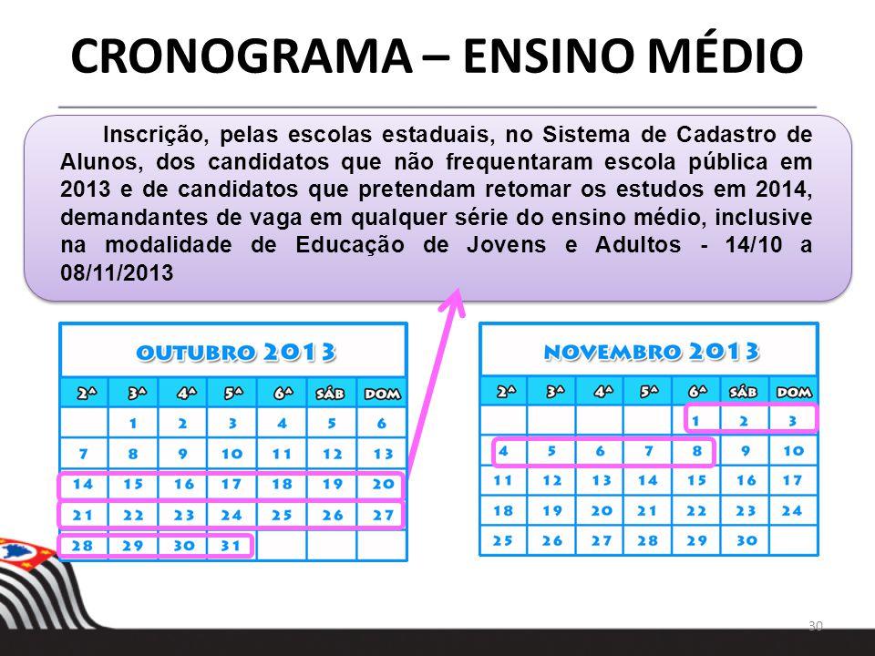 30 CRONOGRAMA – ENSINO MÉDIO Inscrição, pelas escolas estaduais, no Sistema de Cadastro de Alunos, dos candidatos que não frequentaram escola pública