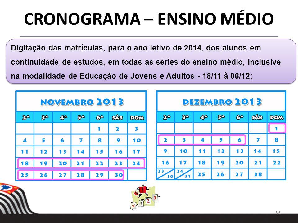 36 Digitação das matrículas, para o ano letivo de 2014, dos alunos em continuidade de estudos, em todas as séries do ensino médio, inclusive na modali