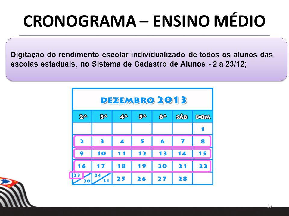 38 CRONOGRAMA – ENSINO MÉDIO Digitação do rendimento escolar individualizado de todos os alunos das escolas estaduais, no Sistema de Cadastro de Aluno