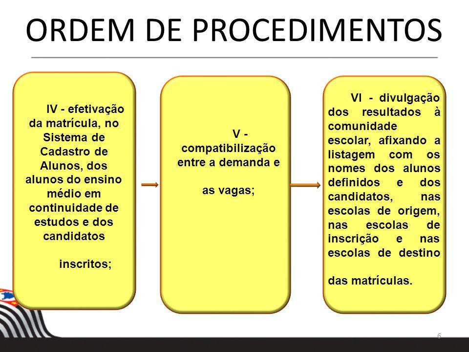 17 COMPATIBILIZAÇÃO AUTOMÁTICA II - o Sistema de Cadastro de Alunos fará a indicação da vaga compatibilizada automaticamente para as escolas estaduais pertencentes ao município de São Paulo e disponibilizará a opção para validação da Diretoria de Ensino, respeitados os critérios definidos pelas Coordenadorias de Gestão da Educação Básica – CGEB – e de Informação, Monitoramento e Avaliação Educacional – CIMA –, de forma a garantir efetivação de todas as matrículas;