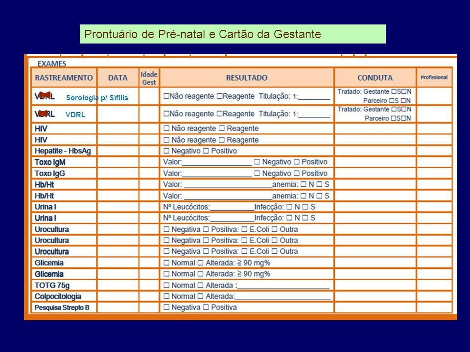 Prontuário de Pré-natal e Cartão da Gestante Sorologia p/ Sífilis VDRL
