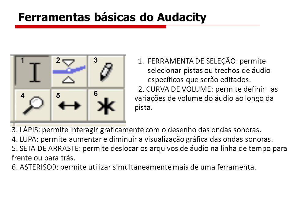Ferramentas básicas do Audacity 123 45 6 1.FERRAMENTA DE SELEÇÃO: permite selecionar pistas ou trechos de áudio específicos que serão editados. 2. CUR