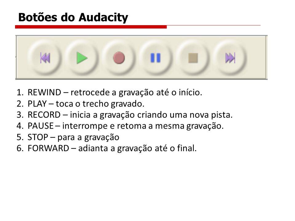 Botões do Audacity 1.REWIND – retrocede a gravação até o início. 2.PLAY – toca o trecho gravado. 3.RECORD – inicia a gravação criando uma nova pista.