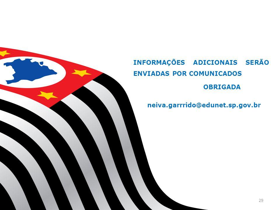 INFORMAÇÕES ADICIONAIS SERÃO ENVIADAS POR COMUNICADOS OBRIGADA neiva.garrrido@edunet.sp.gov.br 29