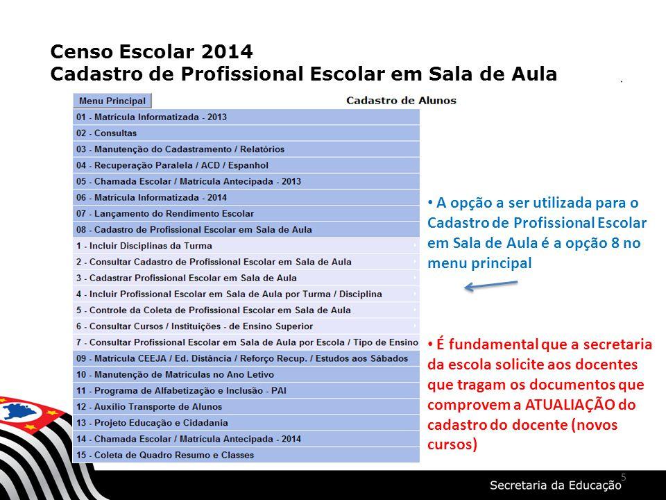 5 Censo Escolar 2014 Cadastro de Profissional Escolar em Sala de Aula A opção a ser utilizada para o Cadastro de Profissional Escolar em Sala de Aula