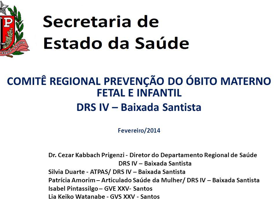COMITÊ REGIONAL PREVENÇÃO DO ÓBITO MATERNO FETAL E INFANTIL DRS IV – Baixada Santista Fevereiro/2014 Dr. Cezar Kabbach Prigenzi - Diretor do Departame