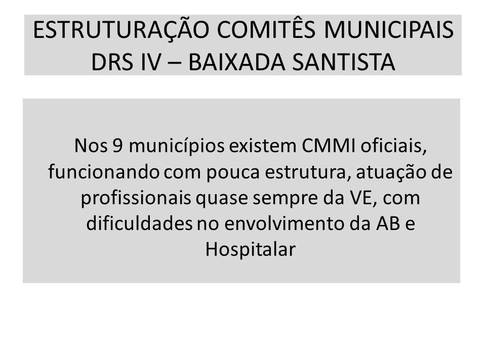 ESTRUTURAÇÃO COMITÊS MUNICIPAIS DRS IV – BAIXADA SANTISTA Nos 9 municípios existem CMMI oficiais, funcionando com pouca estrutura, atuação de profissi