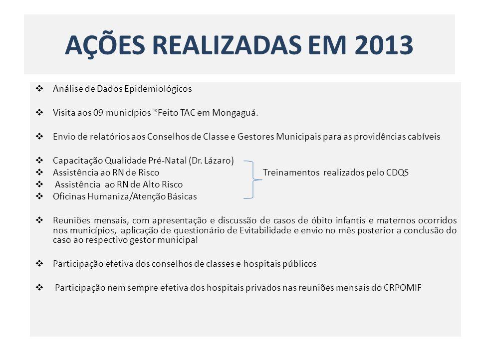 AÇÕES REALIZADAS EM 2013 Análise de Dados Epidemiológicos Visita aos 09 municípios *Feito TAC em Mongaguá. Envio de relatórios aos Conselhos de Classe