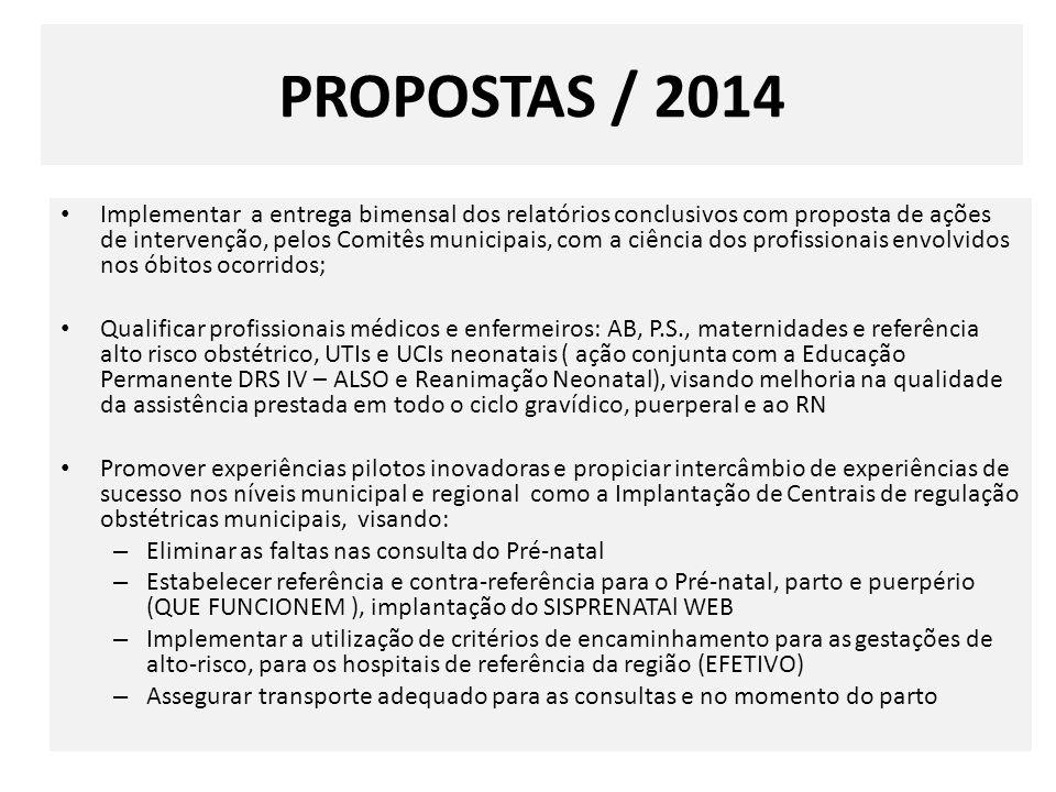 PROPOSTAS / 2014 Implementar a entrega bimensal dos relatórios conclusivos com proposta de ações de intervenção, pelos Comitês municipais, com a ciênc