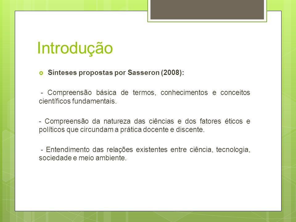 Introdução Sínteses propostas por Sasseron (2008): - Compreensão básica de termos, conhecimentos e conceitos científicos fundamentais. - Compreensão d