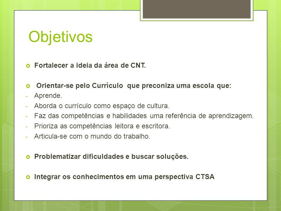 Objetivos Fortalecer a ideia da área de CNT. Orientar-se pelo Currículo que preconiza uma escola que: - Aprende. - Aborda o currículo como espaço de c
