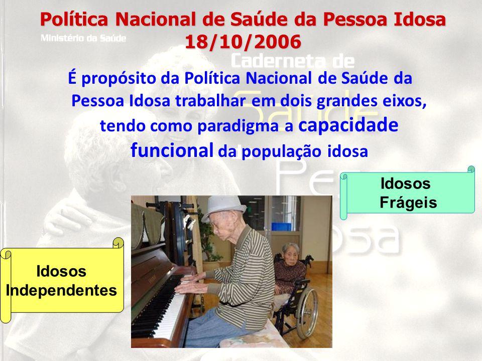 Política Nacional de Saúde da Pessoa Idosa 18/10/2006 É propósito da Política Nacional de Saúde da Pessoa Idosa trabalhar em dois grandes eixos, tendo