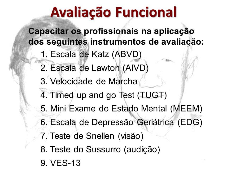 Avaliação Funcional Capacitar os profissionais na aplicação dos seguintes instrumentos de avaliação: 1. Escala de Katz (ABVD) 2. Escala de Lawton (AIV