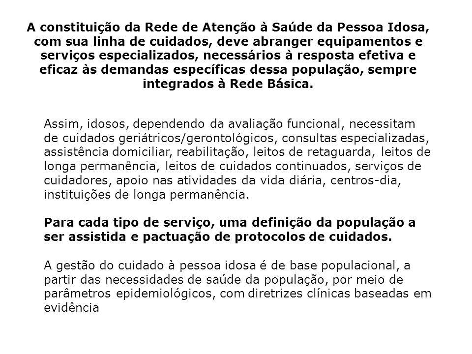 A constituição da Rede de Atenção à Saúde da Pessoa Idosa, com sua linha de cuidados, deve abranger equipamentos e serviços especializados, necessário