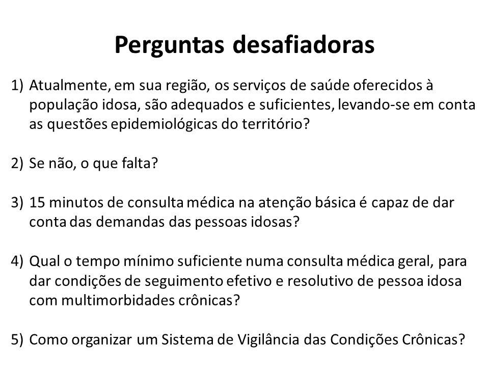 Perguntas desafiadoras 1)Atualmente, em sua região, os serviços de saúde oferecidos à população idosa, são adequados e suficientes, levando-se em cont