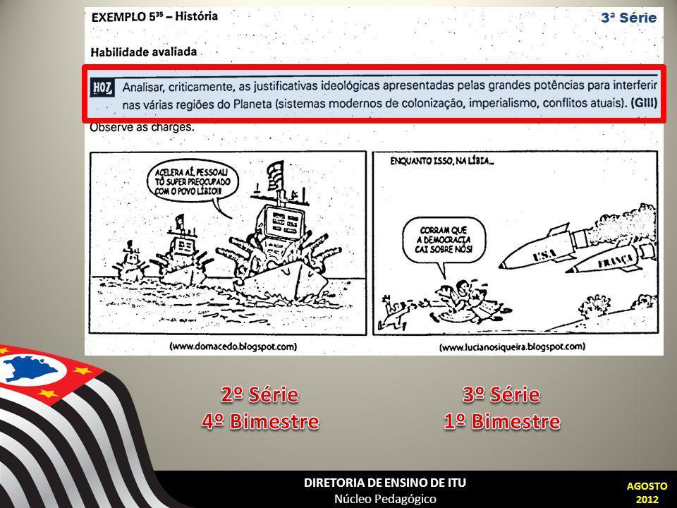 DIRETORIA DE ENSINO DE ITU Núcleo Pedagógico AGOSTO 2012 3ª Série