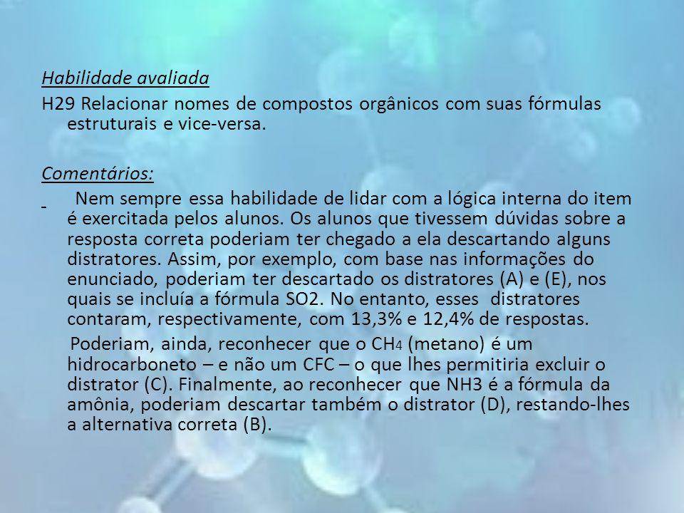 Habilidade avaliada H29 Relacionar nomes de compostos orgânicos com suas fórmulas estruturais e vice-versa. Comentários: Nem sempre essa habilidade de