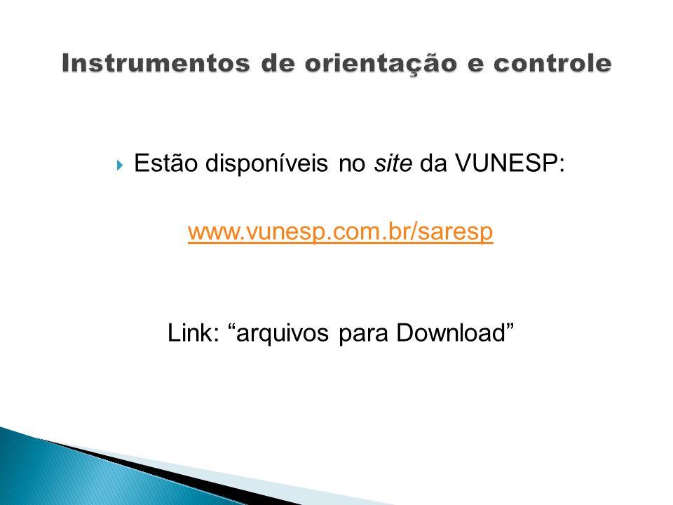 Estão disponíveis no site da VUNESP: www.vunesp.com.br/saresp Link: arquivos para Download