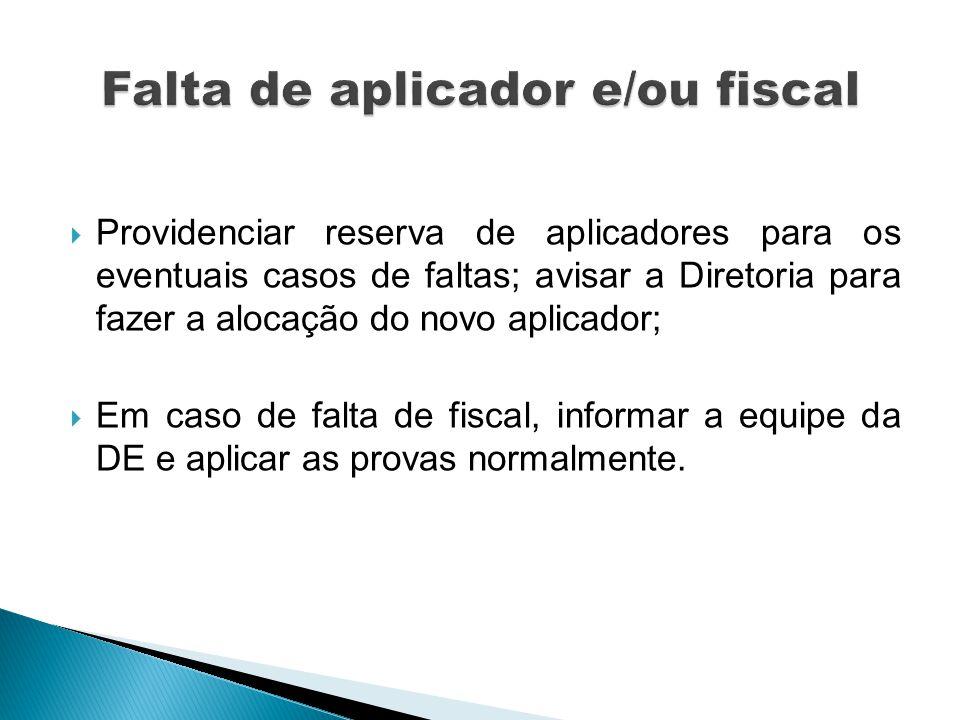Providenciar reserva de aplicadores para os eventuais casos de faltas; avisar a Diretoria para fazer a alocação do novo aplicador; Em caso de falta de