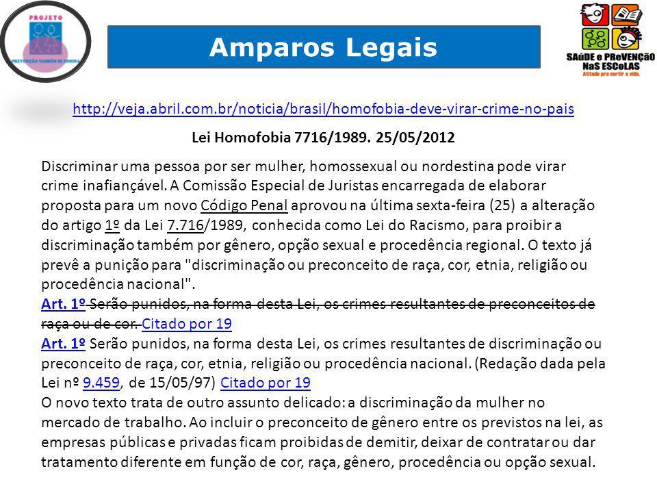 Amparos Legais http://veja.abril.com.br/noticia/brasil/homofobia-deve-virar-crime-no-pais Lei Homofobia 7716/1989.