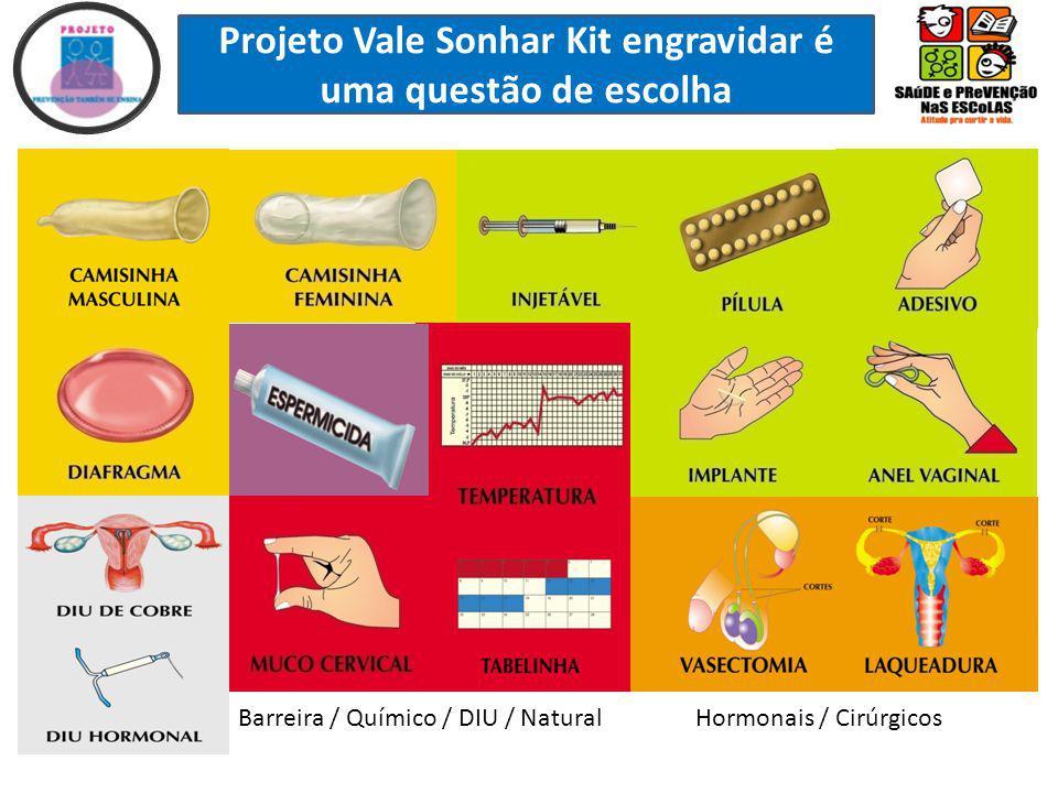 Projeto Vale Sonhar Kit engravidar é uma questão de escolha Hormonais / CirúrgicosBarreira / Químico / DIU / Natural