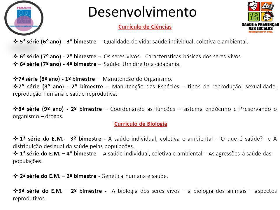 Desenvolvimento Currículo de Ciências 5ª série (6º ano) - 3º bimestre – Qualidade de vida: saúde individual, coletiva e ambiental.