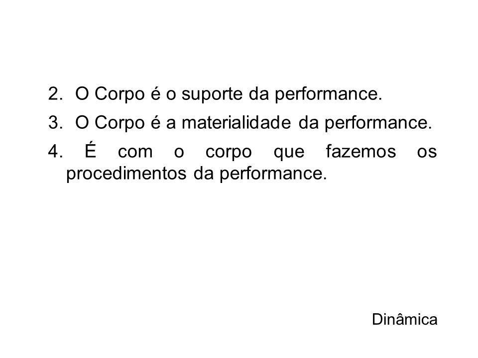 2.O Corpo é o suporte da performance.3.O Corpo é a materialidade da performance.