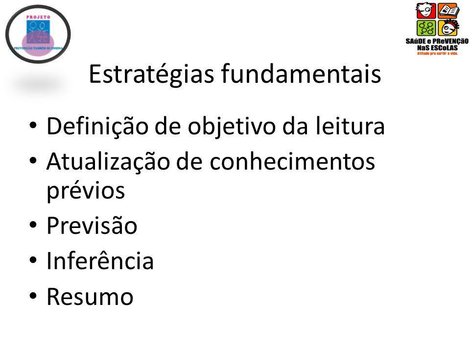 Estratégias fundamentais Definição de objetivo da leitura Atualização de conhecimentos prévios Previsão Inferência Resumo