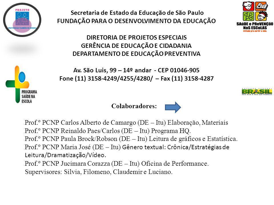 Secretaria de Estado da Educação de São Paulo FUNDAÇÃO PARA O DESENVOLVIMENTO DA EDUCAÇÃO DIRETORIA DE PROJETOS ESPECIAIS GERÊNCIA DE EDUCAÇÃO E CIDADANIA DEPARTAMENTO DE EDUCAÇÃO PREVENTIVA Av.