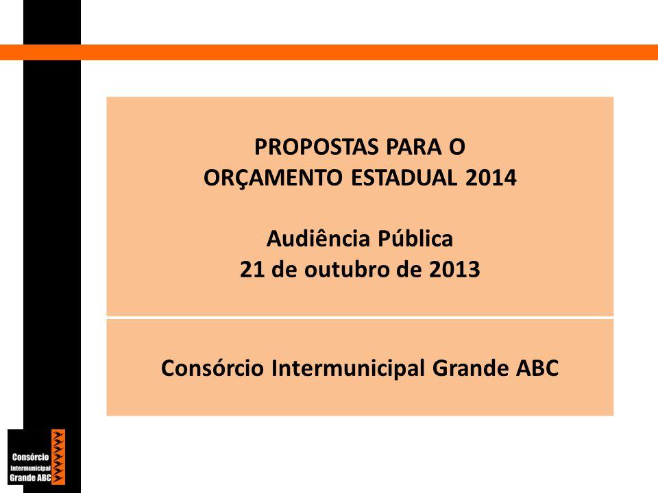 PROPOSTAS PARA O ORÇAMENTO ESTADUAL 2014 Audiência Pública 21 de outubro de 2013 Consórcio Intermunicipal Grande ABC