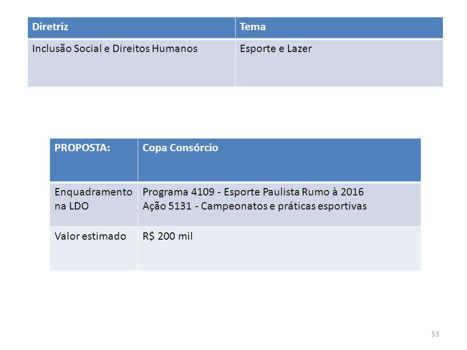 PROPOSTA:Copa Consórcio Enquadramento na LDO Programa 4109 - Esporte Paulista Rumo à 2016 Ação 5131 - Campeonatos e práticas esportivas Valor estimadoR$ 200 mil DiretrizTema Inclusão Social e Direitos HumanosEsporte e Lazer 53