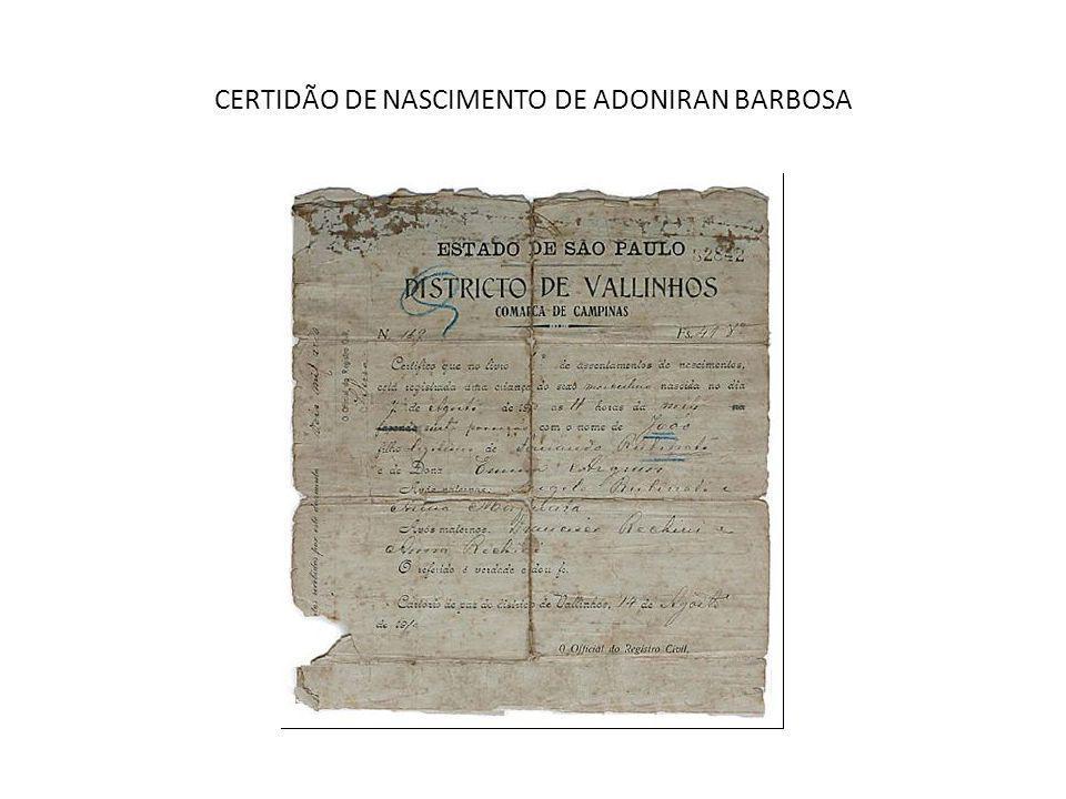 CERTIDÃO DE NASCIMENTO DE ADONIRAN BARBOSA