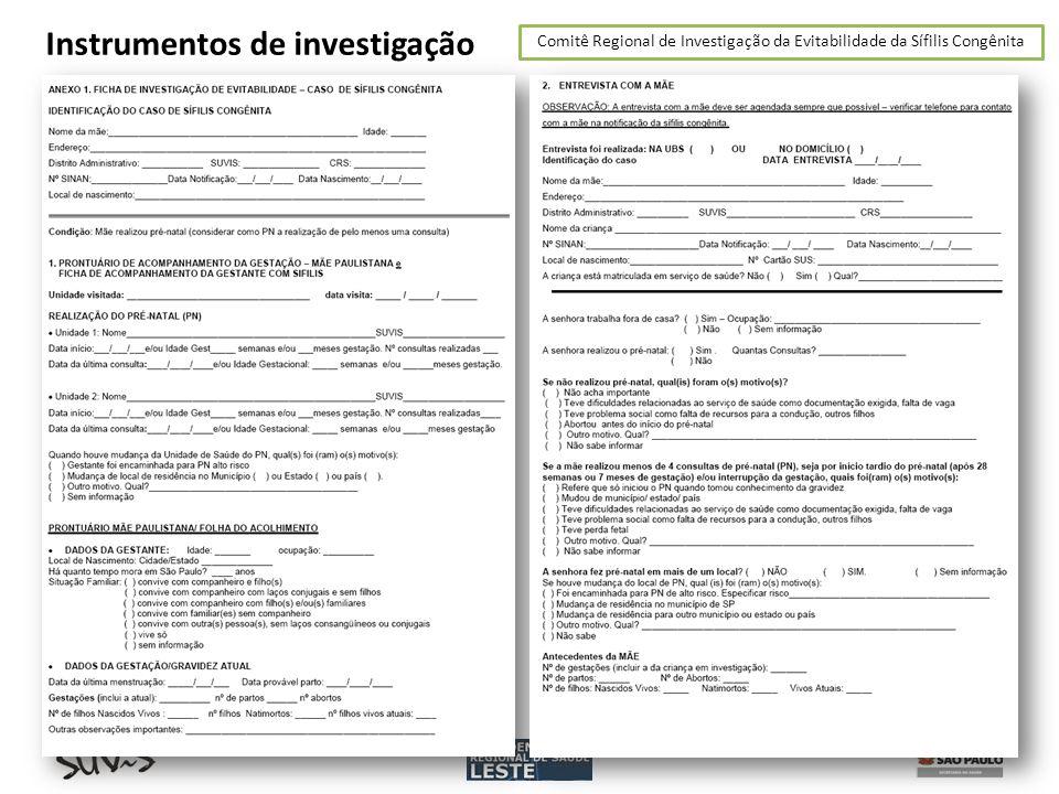 Comitê Regional de Investigação da Evitabilidade da Sífilis Congênita Instrumentos de investigação