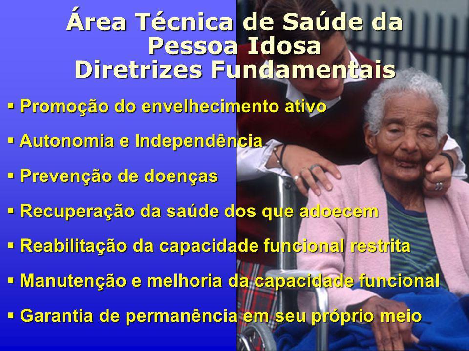 Área Técnica de Saúde da Pessoa Idosa Diretrizes Fundamentais Promoção do envelhecimento ativo Promoção do envelhecimento ativo Autonomia e Independên
