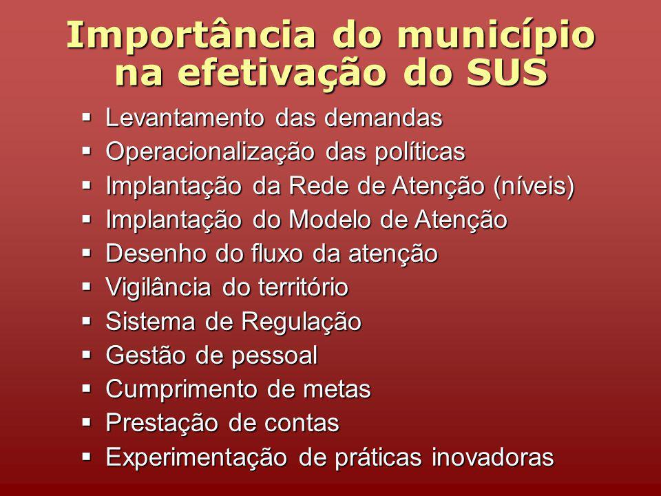 Importância do município na efetivação do SUS Levantamento das demandas Levantamento das demandas Operacionalização das políticas Operacionalização da