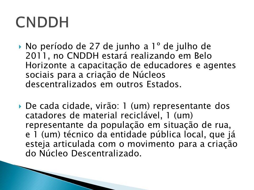 No período de 27 de junho a 1º de julho de 2011, no CNDDH estará realizando em Belo Horizonte a capacitação de educadores e agentes sociais para a criação de Núcleos descentralizados em outros Estados.