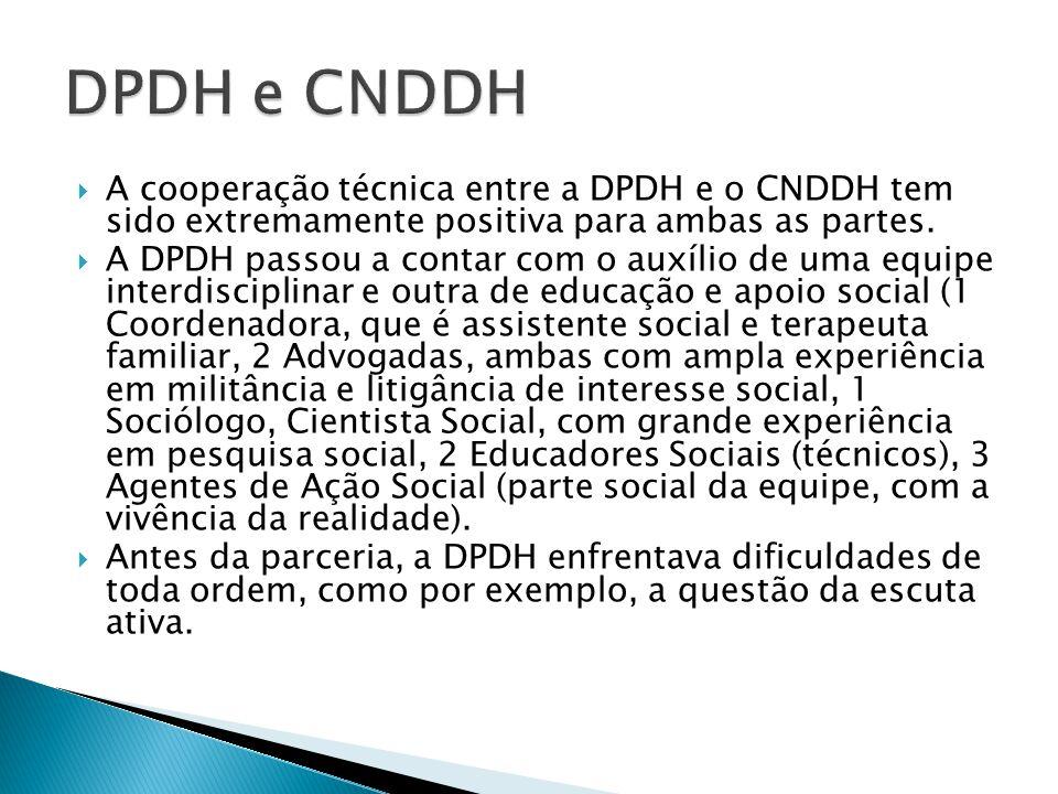 A cooperação técnica entre a DPDH e o CNDDH tem sido extremamente positiva para ambas as partes.