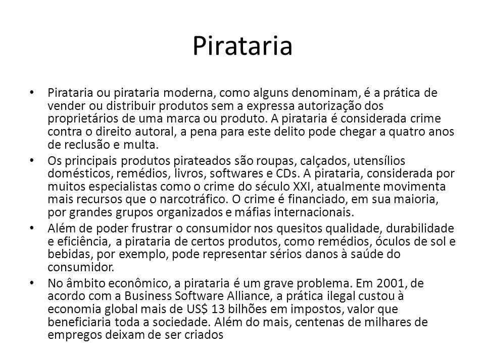 Pirataria Pirataria ou pirataria moderna, como alguns denominam, é a prática de vender ou distribuir produtos sem a expressa autorização dos proprietá