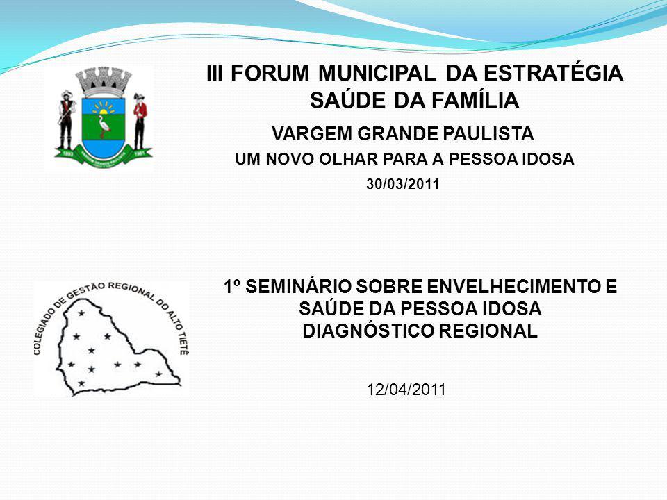 12/04/2011 III FORUM MUNICIPAL DA ESTRATÉGIA SAÚDE DA FAMÍLIA VARGEM GRANDE PAULISTA UM NOVO OLHAR PARA A PESSOA IDOSA 30/03/2011 1º SEMINÁRIO SOBRE E