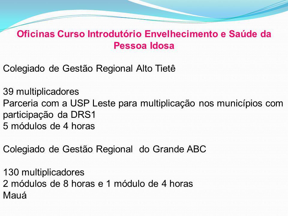 Oficinas Curso Introdutório Envelhecimento e Saúde da Pessoa Idosa Colegiado de Gestão Regional Alto Tietê 39 multiplicadores Parceria com a USP Leste