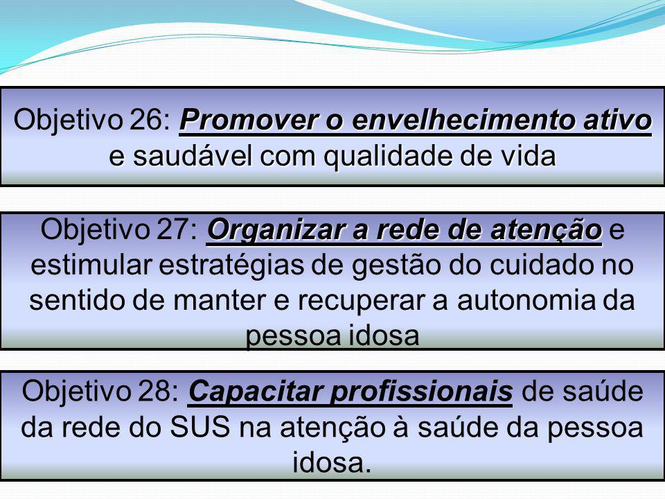 Organizar a rede de atenção Objetivo 27: Organizar a rede de atenção e estimular estratégias de gestão do cuidado no sentido de manter e recuperar a a