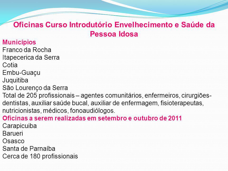 Oficinas Curso Introdutório Envelhecimento e Saúde da Pessoa Idosa Municípios Franco da Rocha Itapecerica da Serra Cotia Embu-Guaçu Juquitiba São Lour