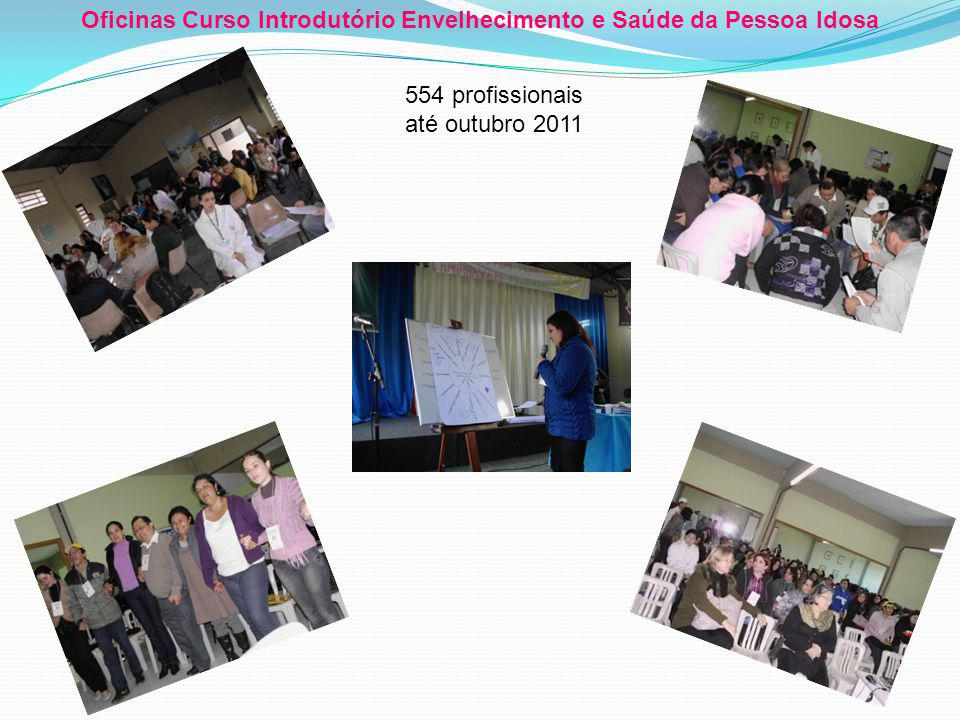 Oficinas Curso Introdutório Envelhecimento e Saúde da Pessoa Idosa 554 profissionais até outubro 2011