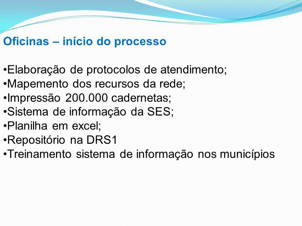 Oficinas – início do processo Elaboração de protocolos de atendimento; Mapemento dos recursos da rede; Impressão 200.000 cadernetas; Sistema de inform